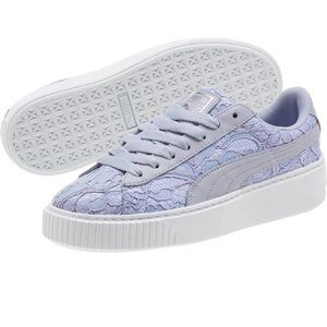Puma Basket Platform FO Floral Lace Sneakers 10
